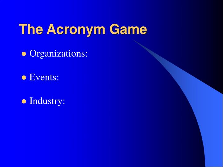 The Acronym Game