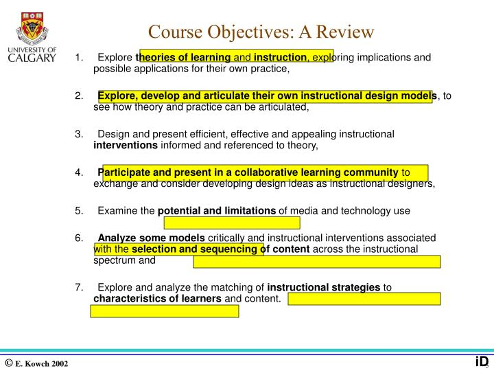 Course Objectives: A Review