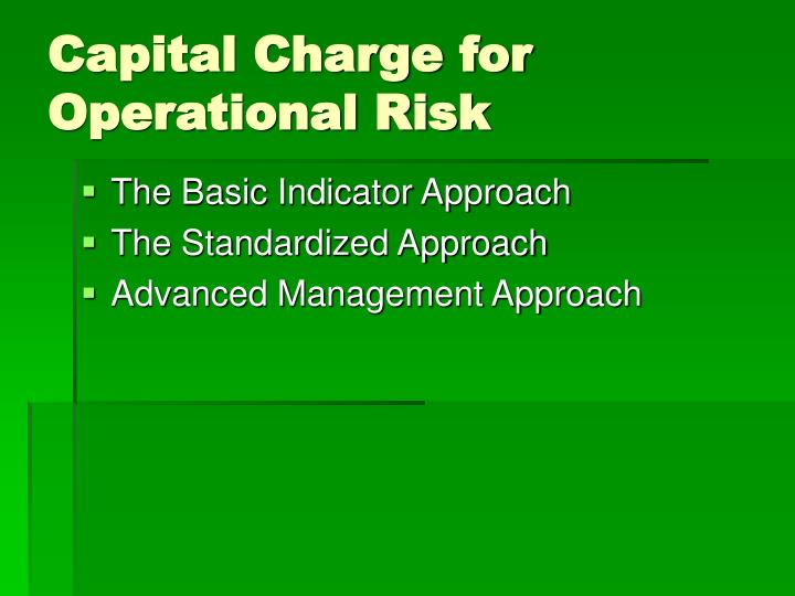 Capital Charge for Operational Risk