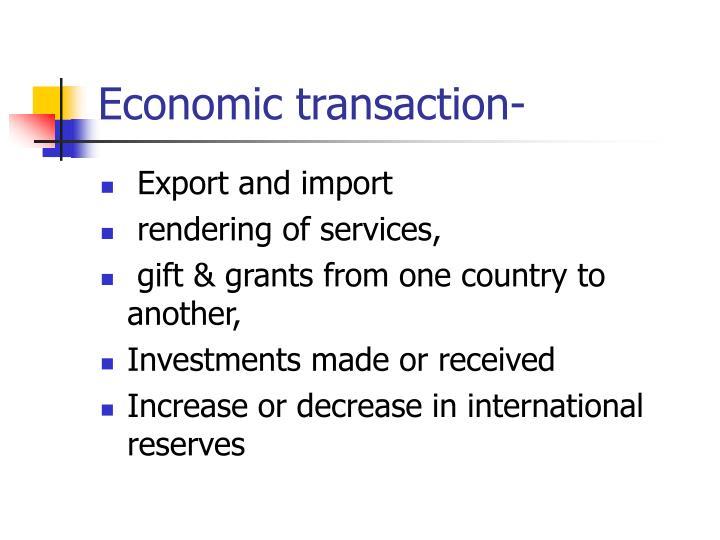 Economic transaction-