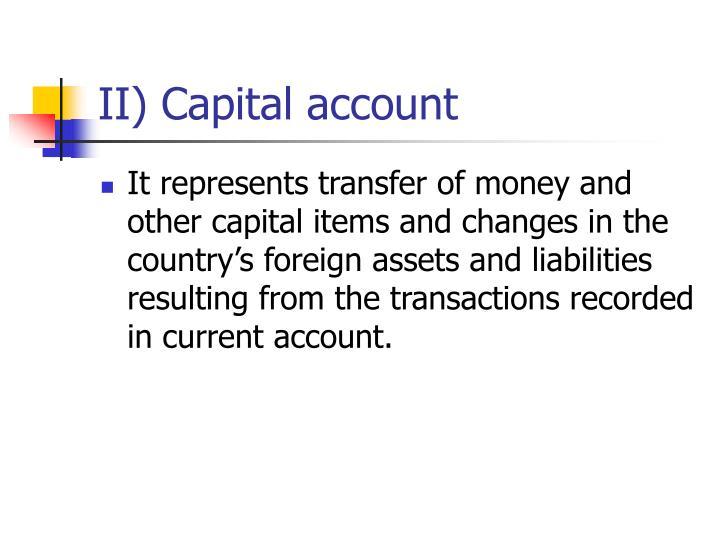 II) Capital account