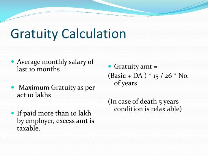 Gratuity Calculation