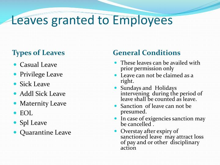 Leaves granted to Employees