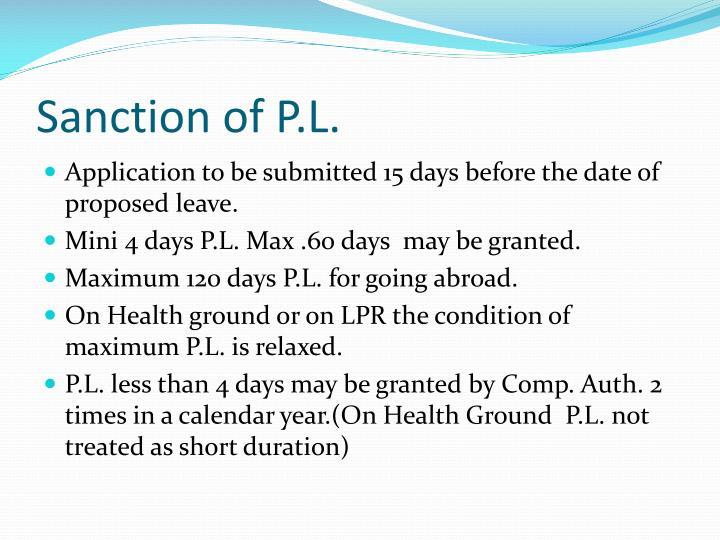 Sanction of P.L.