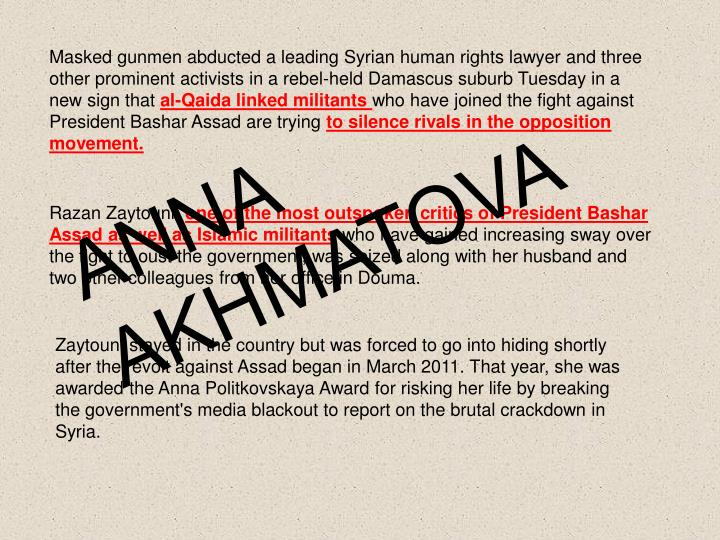 Masked gunmen abducted a leading Syrian human rights lawyer and three other prominent activists in a...