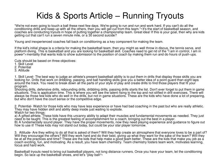 Kids & Sports Article – Running Tryouts