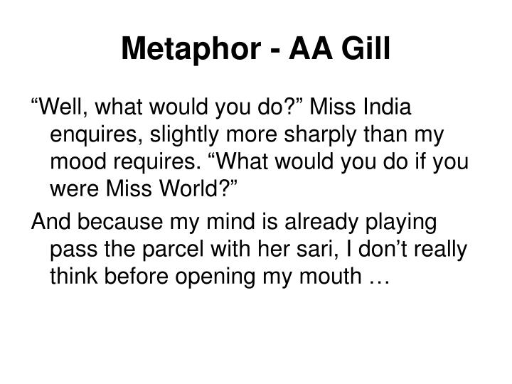 Metaphor - AA Gill