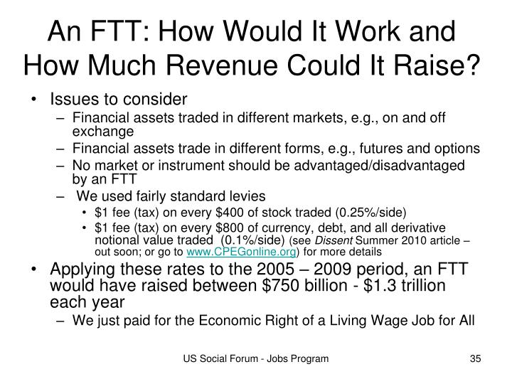 An FTT: How Would It Work and How Much Revenue Could It Raise?