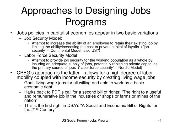 Approaches to Designing Jobs Programs