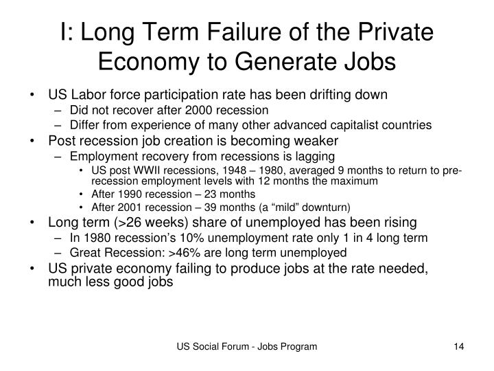 I: Long Term Failure of the Private Economy to Generate Jobs