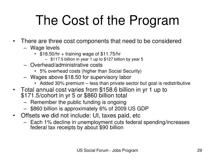 The Cost of the Program