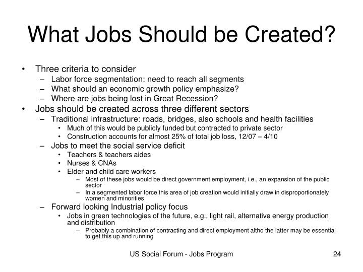 What Jobs Should be Created?
