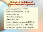 historical evolution of operations management