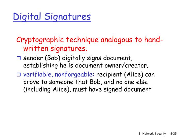 Cryptographic technique analogous to hand-written signatures.