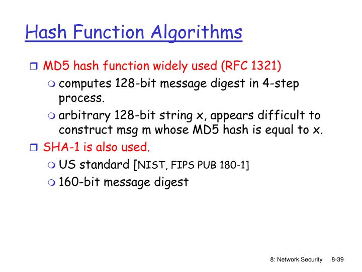 MD5 hash function widely used (RFC 1321)