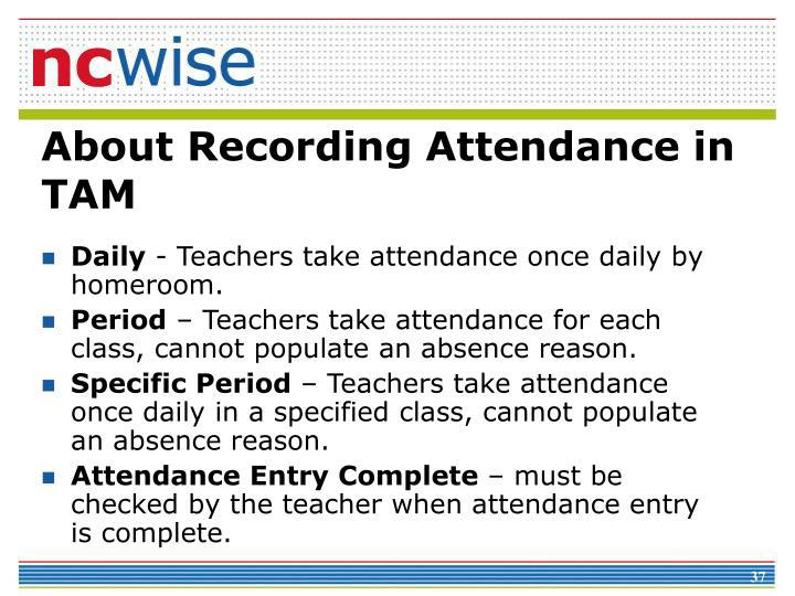 About Recording Attendance in TAM