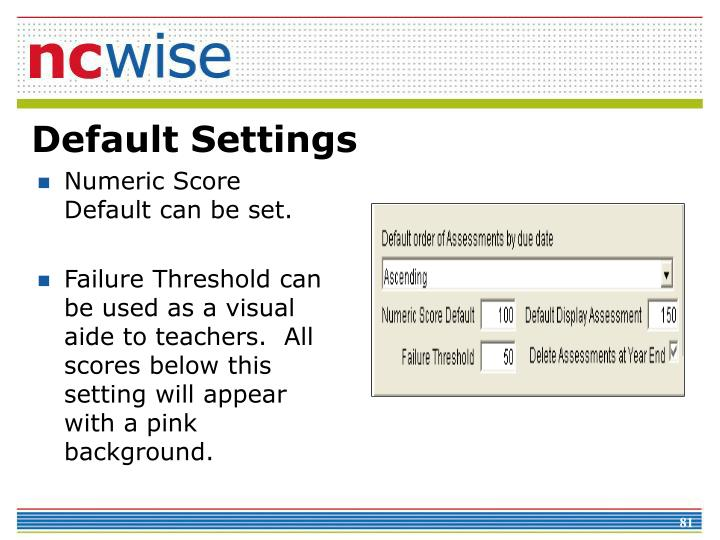Numeric Score Default can be set.