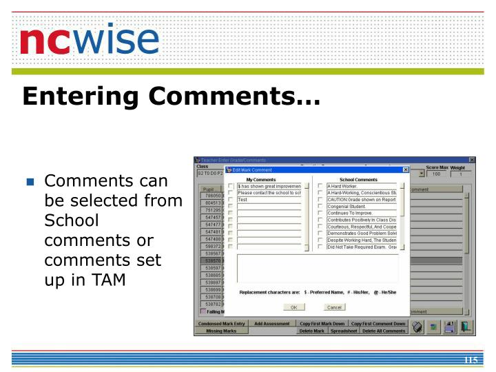 Comments can be selected from School comments or comments set up in TAM