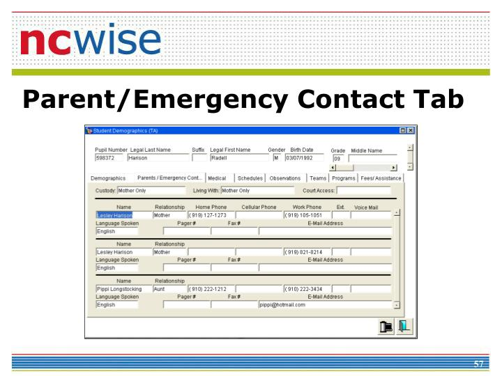 Parent/Emergency Contact Tab