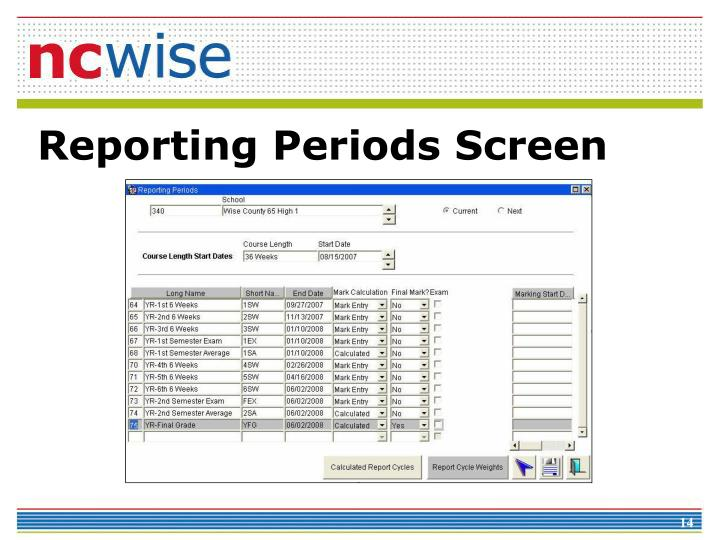 Reporting Periods Screen