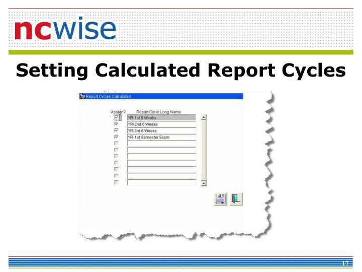 Setting Calculated Report Cycles