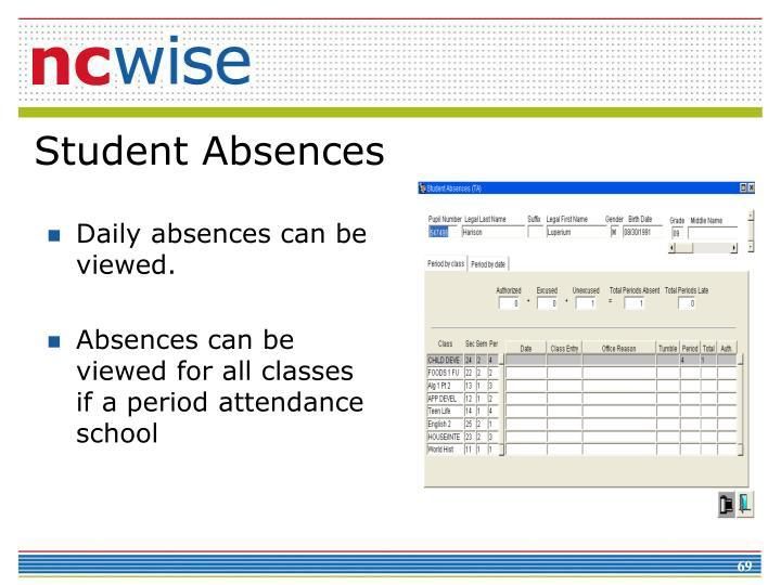 Daily absences can be viewed.