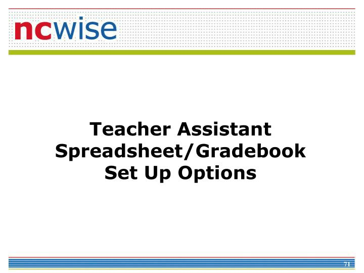 Teacher Assistant Spreadsheet/Gradebook