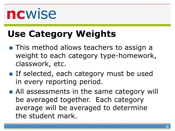 Use Category Weights