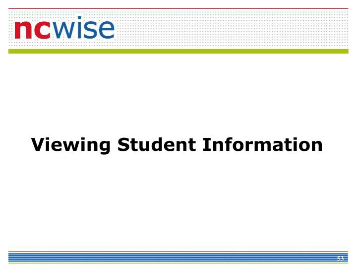 Viewing Student Information