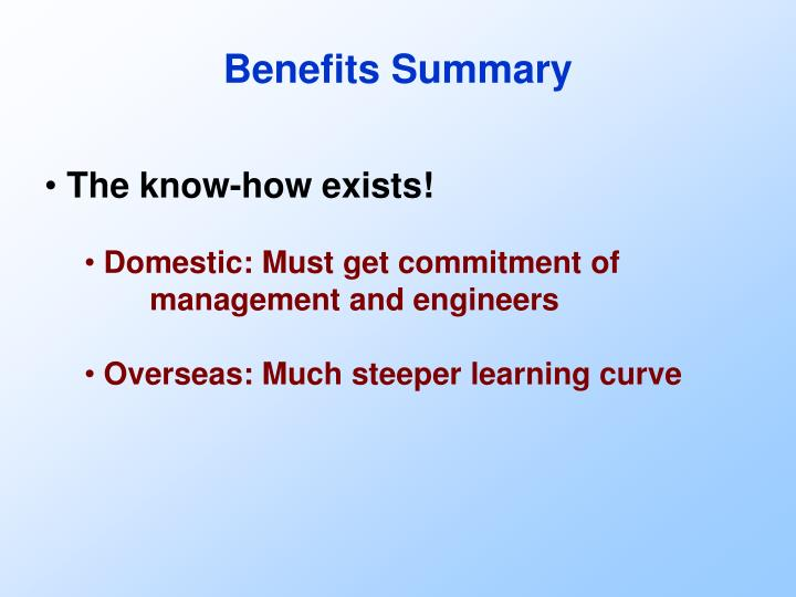 Benefits Summary
