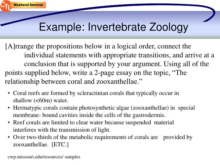 Example: Invertebrate Zoology
