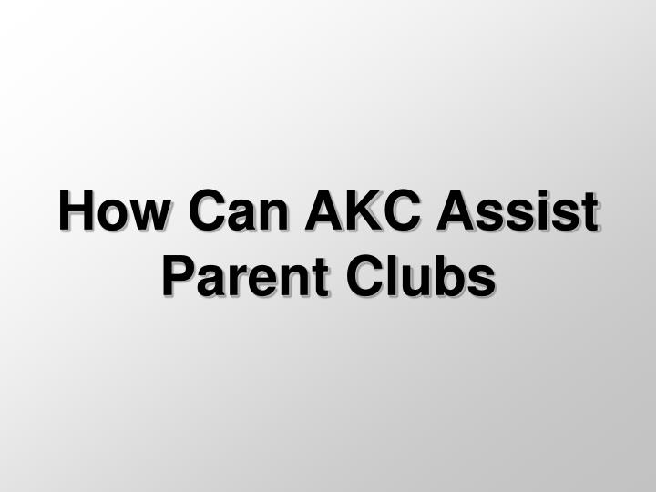How can akc assist parent clubs