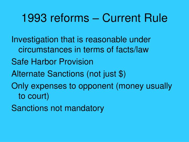 1993 reforms – Current Rule