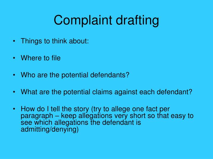 Complaint drafting