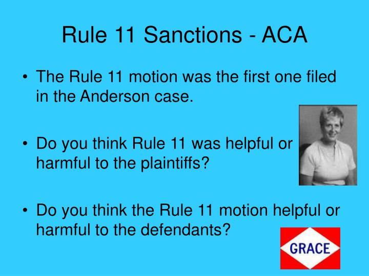 Rule 11 Sanctions - ACA