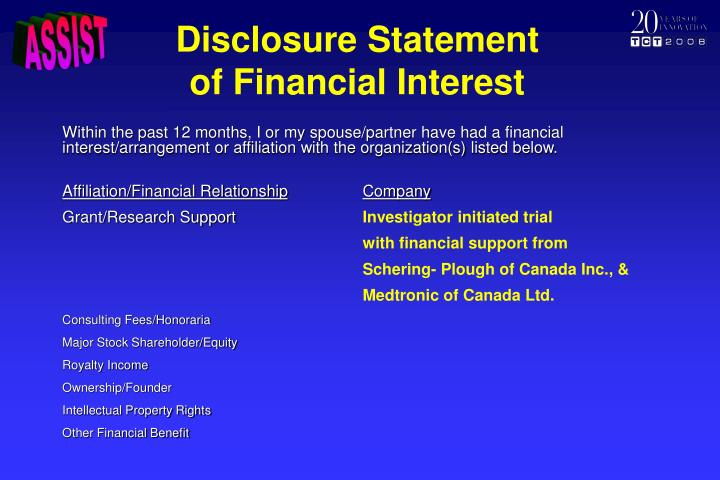 Disclosure statement of financial interest