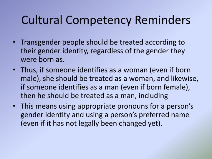 Cultural Competency Reminders