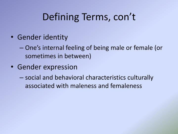 Defining Terms, con't