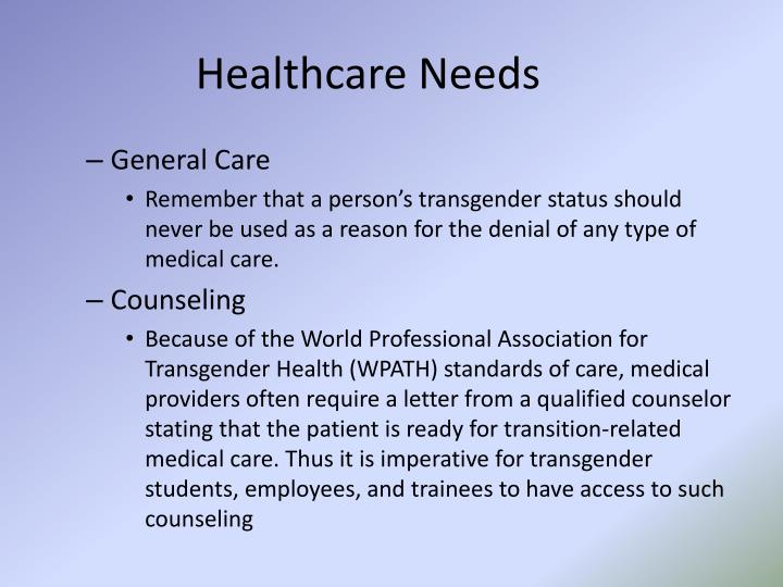Healthcare Needs
