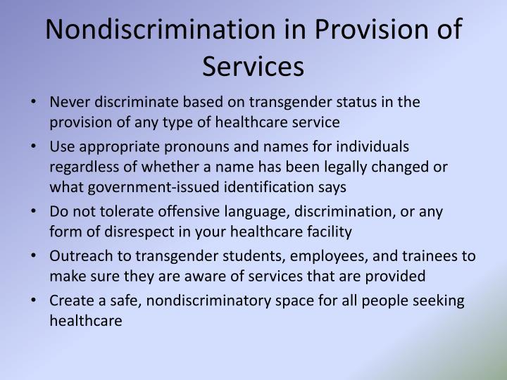Nondiscrimination in Provision of Services