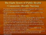 the eight tenets of public health community health nursing
