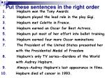 put these sentences in the right order