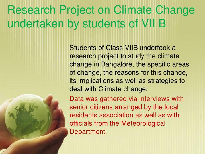 Research project on climate change undertaken by students of vii b