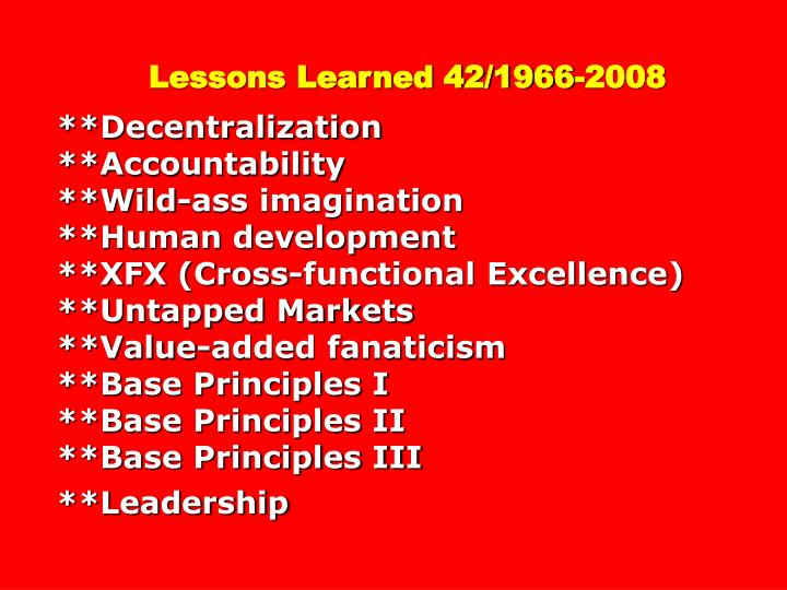 Lessons Learned 42/1966-2008