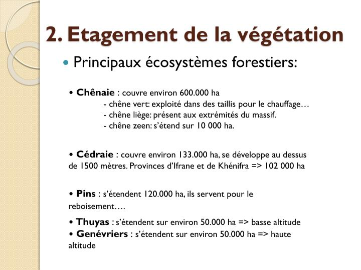 2. Etagement de la végétation