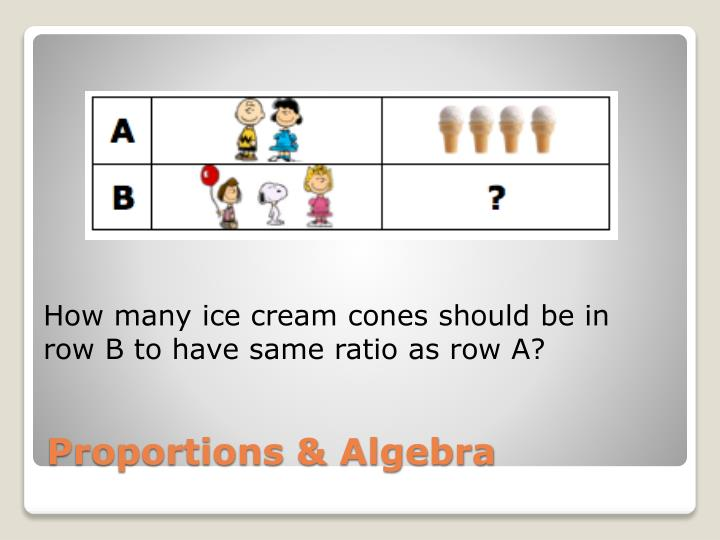 How many ice cream cones should be in row B to have same ratio as row A?
