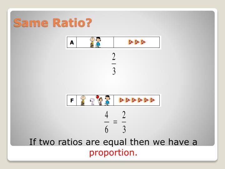 Same Ratio?