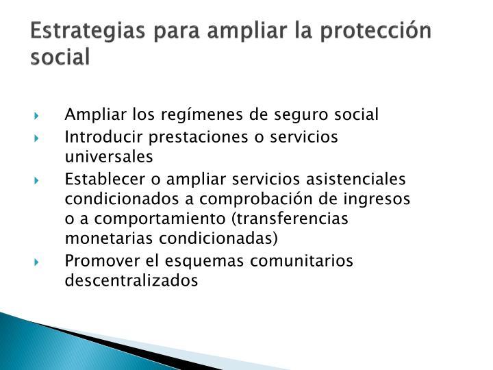 Estrategias para ampliar la protección social