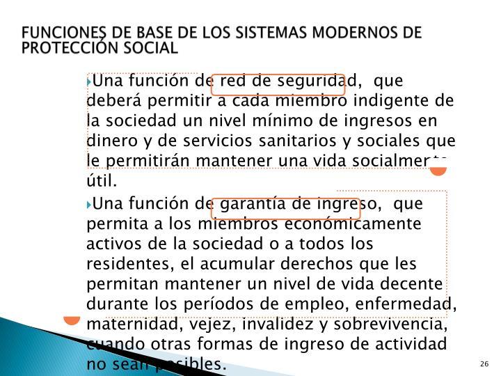 FUNCIONES DE BASE DE LOS SISTEMAS MODERNOS DE PROTECCIÓN SOCIAL