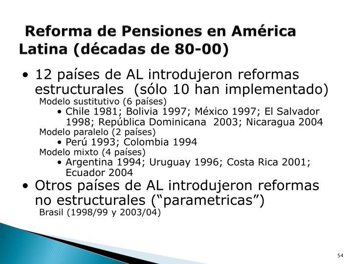 Reforma de Pensiones en América Latina (décadas de 80-00)